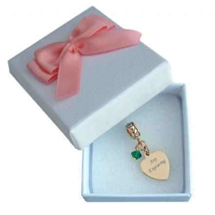 Rose Gold Charm with Birthstone, Personalised with Engraving